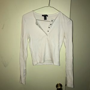 Forever 21 White Button Up Long Sleeve Top